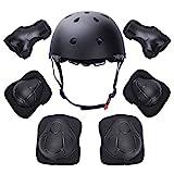 Yacool Kid 's Protektoren Set, Kind verstellbar Helm, Knieschützer, Ellbogenschützer und Wrist Pad für Skateboard Roller Skating Radfahren Rollerblades (black)