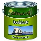 Grünwalder Premium 2-Komponenten Bootslack Yachtlack im Set für GFK, Polyester und Kunststoff inkl. Härter GLÄNZEND ALLE RAL Töne und klarlack Bootsfarbe Yachtfarbe Lack (2,5 kg, Moosgrün RAL 6005)