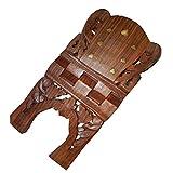 Buchständer Holz Buchstütze Größe M aufklappbar Messingeinlagen Pflanzenranke Kleinmöbel Deko