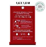 Löschdecke Brandschutzdecke gross I 1.6 x 1.8 m nach DIN EN 1869 geprüft I Feuerlöschdecke I Sicheres Feuer löschen mit Qualität Bringt Sicherheit in Ihr Heim oder für Ihre Arbeit 1.6 x 1.8 m