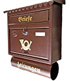 Naturholz-Schreinermeister Großer Briefkasten/Postkasten XXL Kupfer/Bronce / Braun mit Zeitungsrolle Flachdach Katalogeinwurf Zeitungsfach