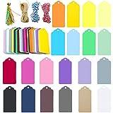 200 Stück Bunt Rechteckig Geschenkanhänger, 9CM x 4.5CM Kraftpapier Anhänger Etiketten, 20 Farben Anhängeschilder Eintrittskarten für Hochzeit Party (Rechteckig)