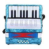 Dilwe Akkordeon, Mini Kleine 17 Tasten 8 Bass Akkordeon Pädagogisches Musikinstrument Spielzeug für Anfänger Kinder Bildung(Navy blau)