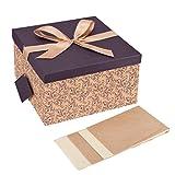 Große Geschenkbox gefaltet inkl. Schleife und Anhänger naturbraun Pflaume gemustert XXL 30 x 30 x 17 cm