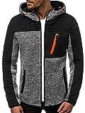 OZONEE Herren Kapuzenpullover Sweatjacke Sweatshirt Langarm Hoodie Sport Style Casual Fitness Training Motiv 777/1691B GRAU M