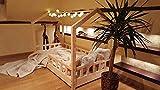 Oliveo HAUSBETT KINDERHAUS Bett für Kinder,Kinderbett Spielbett mit SICHERHEITBARRIEREN (190 x 90 cm, Natürliches Holz)