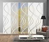 Home Fashion 95662 | 5er-Set Schiebegardinen TIBERIO | Scherli blickdicht & transparent | wollweiß | je 245x60 cm