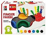 Marabu 0303000000085 Kids Fingerfarbe 6 x 35 ml in gelb, orange, rot, blau, grün und schwarz, bunt