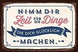 Grafik Werkstatt 60566 Wandschild | Vintage-Art | Nimm Dir Zeit für die Dinge... | Retro Blechschild - Wandschild, Metall, Uni, 30 x 20 cm