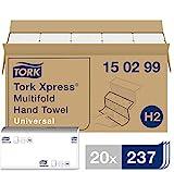 Tork 150299 Xpress Multifold Papierhandtücher H2 Universal in Weiß - Falthandtücher 2-lagig - Handtuchpapier doppelt gefalzt für Spender - 20 x 237 Papier Tücher (23,4 x 21.3 cm)
