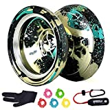 MAGICYOYO & Yostyle M002 April Unresponsive Yo-Yo Professional Metal Yoyo Black Green spalsh Silver with 5 Yoyo Strings and Glove Gift