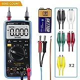 Digital Multimeter mit Auto Range, Morpilot 6000 Counts Advanced Voltmeter Amperemeter Ohmmeter, Stromprüfer, Temperatur, Außenleiter-Identifizierung, True RMS, Akustischer Durchgangsprüfung, 3.0inch LCD Bildschirm mit Messleitungen und Krokoklemmen