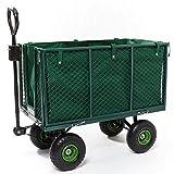 Gartenwagen, 300 kg Tragkraft, Metall, Traktorkupplung, Gartenkarre, Gerätewagen, Transportwagen, Handwagen, Handkarren, Luftbereifung, klappbare Wände, herausnehmbare Tasche, IZZY SPORT
