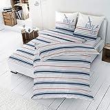 Enrico Coss Perkal Bettwäsche Blue Sea Streifen 1 Bettbezug 155 x 220 cm + 1 Kissenbezug 80 x 80 cm