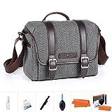 K&F Concept Kameratasche Messenger Tasche Fototasche Umhängetasche für eine Systemkamera und ein Objektiv S (inkl. 5 in 1 Reiniungsset)