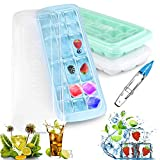 Tencoz Eiswürfelform, 3 Stück Silikon Eiswuerfel Form Eiswuerfelbehaelter Mit Deckel Ice Cube Tray, Eiswürfelformen Eiswürfel Form, LFGB Zertifiziert (Weiß+Grün+Blau)