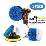 Swonuk 5pcs Bohrmaschine Bürstenaufsatz, 2 Stück Drill Brush + 2 Stück Scheuerschwamm Reinigung Kit Power Scrubbing Auto Bürste für Auto, Teppich, Badezimmer, Holzboden, Waschküche,Küche