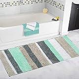 Pauwer Rutschfester Badvorleger, schimmelbestendiger Badezimmer-Teppich, Duschmatte, waschmaschinenfest, grün, 45x120cm