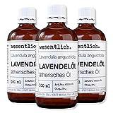 wesentlich. Lavendelöl - ätherisches Öl - 100% naturrein (Glasflasche) - u.a. für Duftlampe und Diffuser (3x100ml)