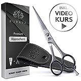 PURAVA Premium Haarschere - Extra scharfe Friseurschere inkl. edlem Etui - scharf & präzise - Idealer Haarschnitt für Damen und Herren - INKL. Videokurs