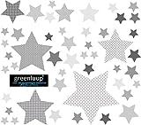 greenluup Wandsticker Wandaufkleber Sterne Grau Kinderzimmer Babyzimmer Baby Aufkleber Wanddeko (Sterne Grau)