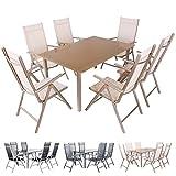 Miweba Moreno 6+1 Aluminium Sitzgarnitur 150x100 Alu Gartenmöbel 6 Stühle Sitzgruppe Tisch Gartenset Gartengarnitur in verschiedenen Farben und Ausführungen (Farbe: Grau Schwarz - Ausführung: Classic)