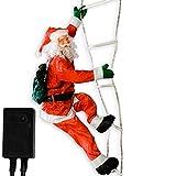 Weihnachtsmann auf Leuchtleiter, verstellbar, Gesamthöhe 240 cm, für innen und aussen, 8 Leuchtprogramme