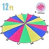 UnAmico 3,5m Schwungtuch für Kinder und Familie - Kinder Spielen Zelten Fallschirm mit 16 GriffenSpielzeug (6-12 Kinder)