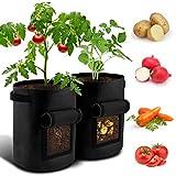 BROTOU Pflanzen Tasche Kartoffel Pflanzsack 4er Pack 7 Gallonen mit Griffen und Sichtfenster Klettverschluss,Dauerhaft AtmungsaktivBeutel Gemüse wachsen (4 Pack)