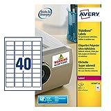 AVERY Zweckform L6140-20 Kraftkleber-Etiketten (A4, 800 Stück, 45,7 x 25,4 mm, 20 Blatt) weiß