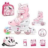 JAMBACH Kinder Inliner Inline Skates für Anfänger verstellbar Set Triskates mit Schutzset Helm Rucksack Rollschuhe Mädchen Jungen (M (34-37), rosa)