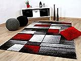 Designer Teppich Brilliant Rot Grau Fantasy in 5 Größen