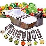 Comaie Mandoline Gemüsehobel, 8 in 1 Mehrzweck Gemüseschneider Küchenhobel Zwiebelschneider Kartoffelschneider Gemüsereibe Reibe Edelstahl Klingen für Gemüseschäler Gemüse und Obst ...
