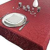 Premium Tischdecke 150 x 250 cm elegante Tafeldecke mit edlen Ornamenten Tafeltuch mit Rankenmuster schmal gesäumtes Tischtuch, Farbe:Bordeaux