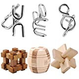 IQ-Spiel Set, iTECHOR 6er Set von IQ-Test Denkspiel Knobelspiele 3D Puzzle Metallpuzzle Holzpuzzle Brainteaser