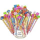JZK 50 x Schule HB Stifte Set, Bleistifte mit Radiergummi von Tiere Blumen Sonne Schmetterling etc für Geburtstag Mitgebsel Geschenk Kinder Party Gastgeschenk