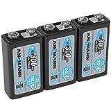 ANSMANN LSD 9V Akkubatterie/Typ 300mAh/Wiederaufladbarer NiMH E-Block/Vorgeladener Akku mit geringer Selbstentladung & hoher Kapazität/Ideal für Spielzeug Taschenlampe uvm./3 Stück