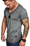 Amaci&Sons Oversize Herren Vintage T-Shirt Verwaschen V-Neck Basic V-Ausschnitt Shirt 6034 Anthrazit L