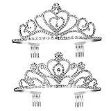 FRCOLOR Prinzessin Tiara Set 2 stücke Kinder Mädchen Kristall Tiara Kronen Prinzessin Haarschmuck