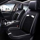 GZTYLQQ Sitzbezüge Auto Universal Set, Ledersitzkissen für die Vordersitze und die Rücksitze Sitzbezüge Sitzschutz (Farbe: Weiß)