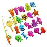 MagiDeal Badespaß Spiel Fisch Modell Mini Angeln Spielzeug Badespielzeug für Kinder Baby - 22 Stück
