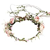 iBelly Blumenkranz Blumenkrone Braut Stirnband Simulationsblume Girlande Böhmen Blumen Haarkranz Braut Brautjungfern Haarband für Hochzeit