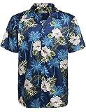 HOTOUCH Herren Hawaiihemd Urlaub Hemd Strandhemd Freizeithemd Hawaii-Print Mit Kurzarm Navy Blau XXXL