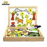 infinitoo Magnetisches Holzpuzzle Doppelseitiges Magnetisches 100 Bunten Stück Tierformen Holzpuzzle   Populäres pädagogisches Lernspielzeug für Kleinkinder ab 3 Jahre