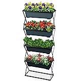 Blumenkastenhalter inkl. 4 Kästen - Pflanzkasten Halterung für Balkon und Garten - Blumenkasten Ständer
