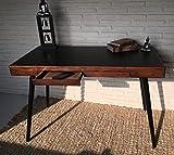 Sekretär Schreibtisch Konsolentisch mit zwei Schubladen schwarz mokka Kolonialstil 120 x 60 x 75 cm