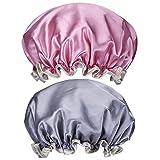 2 Stück Damen Wasserdicht Duschhaube Elastisch Doppelschicht Bad Kappe