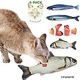 Angel's Pride Spielzeug mit Katzenminze 4 Stück Katze Interaktives Spielzeug Katze Fisch Spielzeug Plüsch Katze Kauen Spielzeug Set für Katze/Kitty/Kätzchen/Aktuell jetzt mit NEMO/30cm+20cm