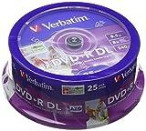 Verbatim 43667 8,5 GB 8 x Doppelschicht DVD + R Inkjet bedruckbar - 25 Pack Spindel