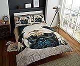 Deluxe Beddings bedrucktes 3D-Bettwäscheset mit Mops-Motiv, Poly-Baumwoll-Bettbezug, Steppdecke, Kissenbezüge, Bettwäscheset, Multi-Einzel-, Doppel- und King-Size-Bett, Polycotton, multi, Einzelbett